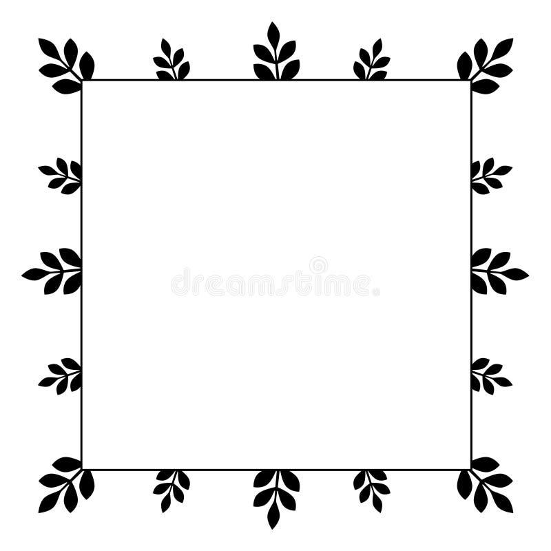 Quadratischer Rahmen mit einfachen kleinen Niederlassungen mit schwarzen Blättern stock abbildung