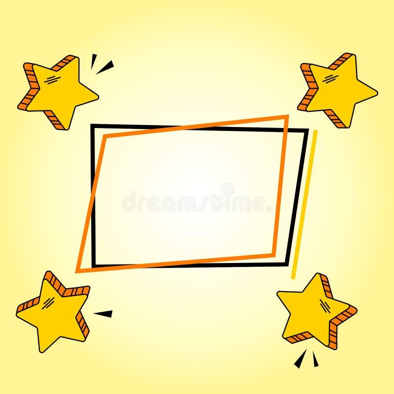 Quadratischer Rahmen mit gelben komischen Sternen fot Ihr Text Vektor vektor abbildung