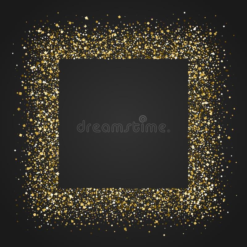 Quadratischer Rahmen mit glänzender goldener Beschaffenheit des funkelnden Staubes Funkelnder Vektorhintergrund für Abdeckung, Bu lizenzfreie abbildung