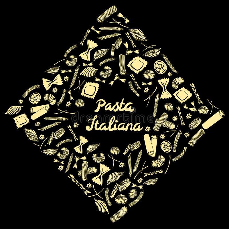 Quadratischer Rahmen mit italienischem Makkaroni von verschiedenen Arten hellgelber farbiger Handabgehobener betrag auf schwarzem lizenzfreie abbildung