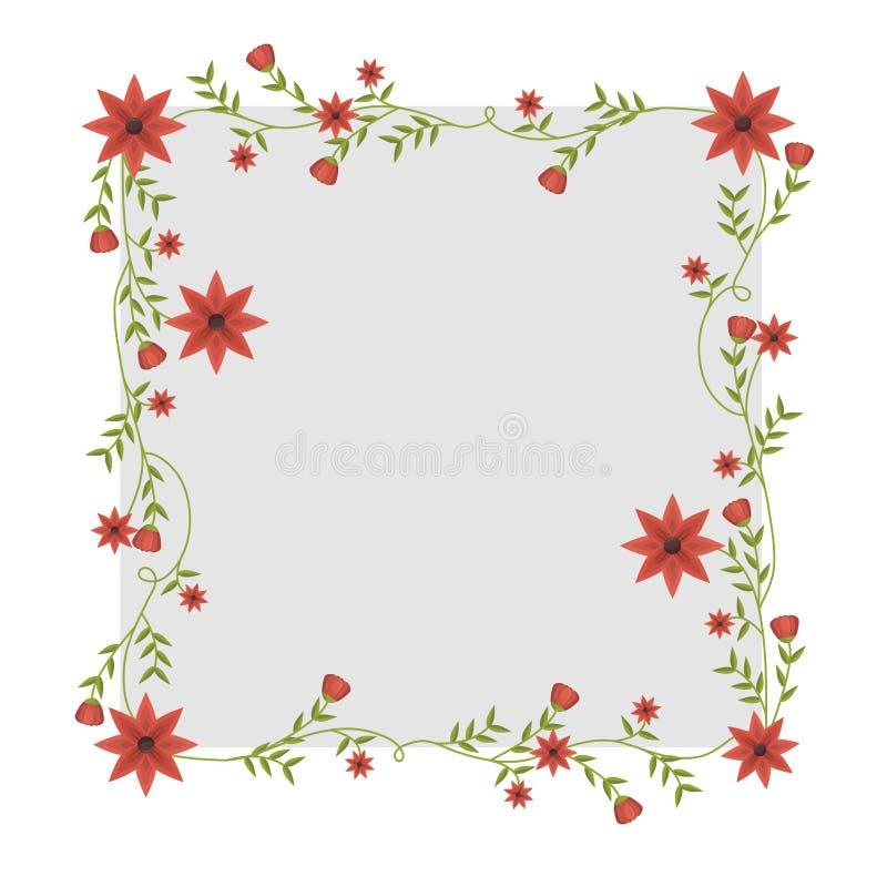 Quadratischer Rahmen mit Kriechpflanzen und roten Blumen lizenzfreie abbildung