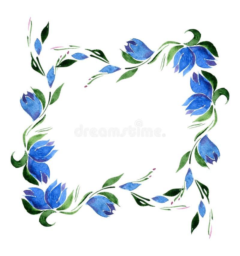 Quadratischer Rahmen von blauen Glockenblumen und von Grünblättern watercolor isolat lizenzfreie abbildung