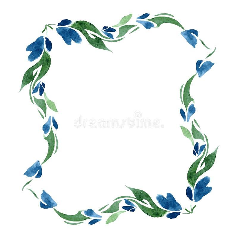 Quadratischer Rahmen von blauen Glockenblumen und von Grünblättern watercolor isolat Vektor lizenzfreie abbildung