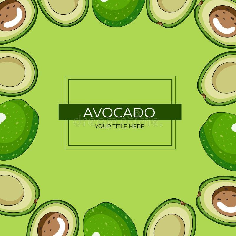 Quadratischer Rahmen von halbierten grünen Avocados mit einem Knochen auf einem grünen Hintergrund vektor abbildung