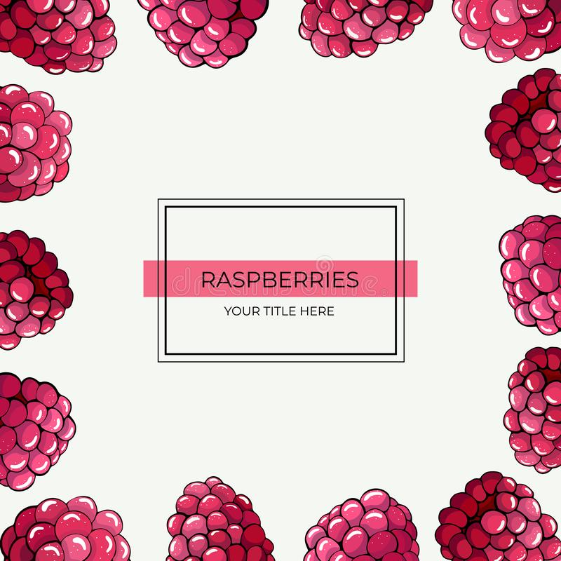 Quadratischer Rahmen von rosa Himbeerbeeren auf einem weißen Hintergrund vektor abbildung