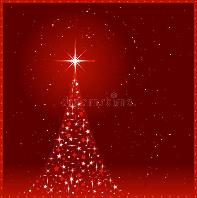 Quadratischer roter Weihnachtshintergrund mit Weihnachtentre lizenzfreie abbildung