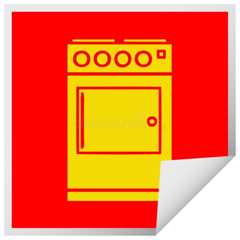 quadratischer Schalenaufkleberkarikaturofen und -kocher lizenzfreie abbildung