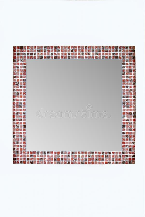 Quadratischer Spiegel mit LED-Licht stockfotos