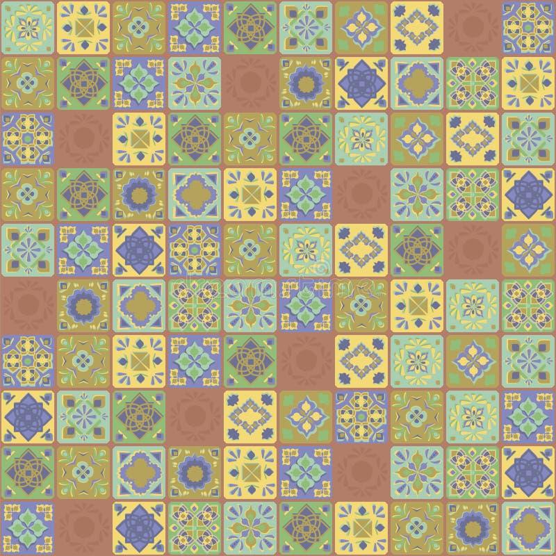 Quadratischer Vektor Inder verziert Mosaik-Orientale-Hand der kontrastierenden Terrakottagelbgrüntürkiskeramikfliesenblumen veget vektor abbildung