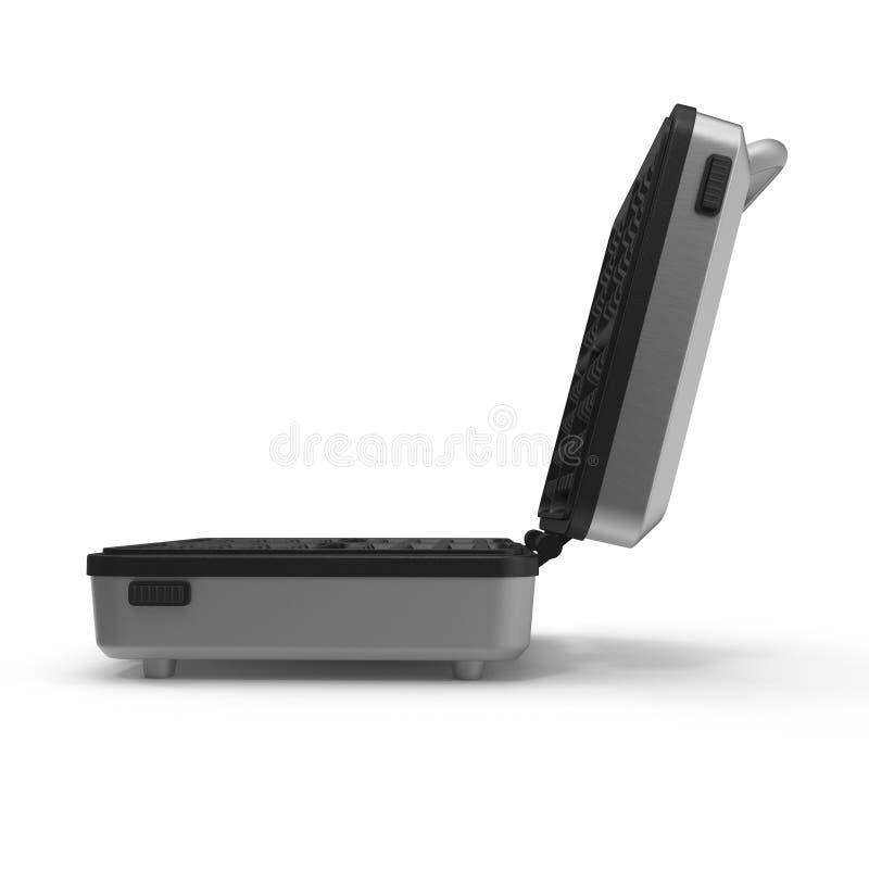 Quadratischer Waffel-Hersteller lokalisiert auf weißem Hintergrund Abbildung 3D lizenzfreie abbildung
