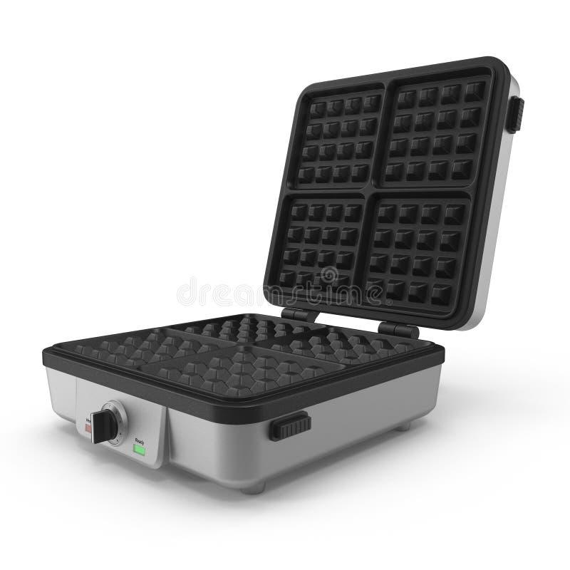 Quadratischer Waffel-Hersteller lokalisiert auf weißem Hintergrund Abbildung 3D stock abbildung