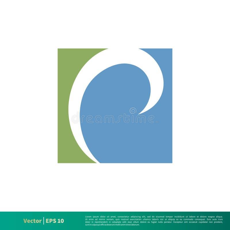 Quadratischer Wasser-Wellen-Ikonen-Vektor Logo Template Illustration Design Vektor ENV 10 vektor abbildung