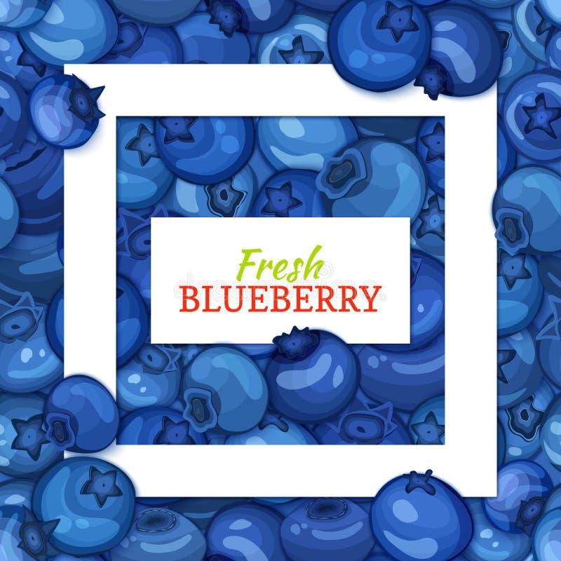Quadratischer weißer Rahmen- und Rechteckaufkleber auf Blaubeerhintergrund Vektorkartenillustration Blaubeeren Frucht und Blätter stock abbildung