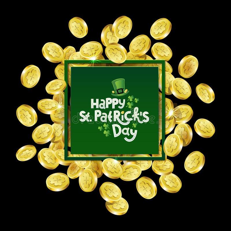 Quadratischer Werbungsrahmen des Vektor-Grüns Zerstreute goldene Münzen, die Shamrock mit dem Beschriften von Tag Text St. Patric stock abbildung