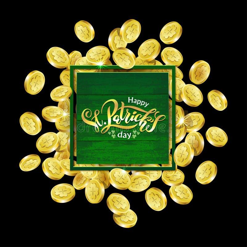 Quadratischer Werbungsrahmen des Vektor-Grüns Zerstreute goldene Münzen, die Shamrock mit dem Beschriften von Tag Text St. Patric vektor abbildung