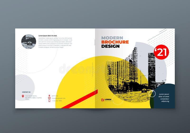 Quadratisches Broschürendesign Firmenkundengeschäftrechteckschablonenbroschüre, Bericht, Katalog, Zeitschrift Broschürenplan lizenzfreie abbildung