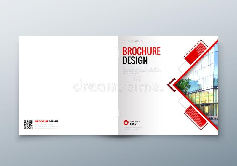 Quadratisches Broschürendesign Firmenkundengeschäftschablone für Rechteckbroschüre, Bericht, Katalog, Zeitschrift korporativ stock abbildung
