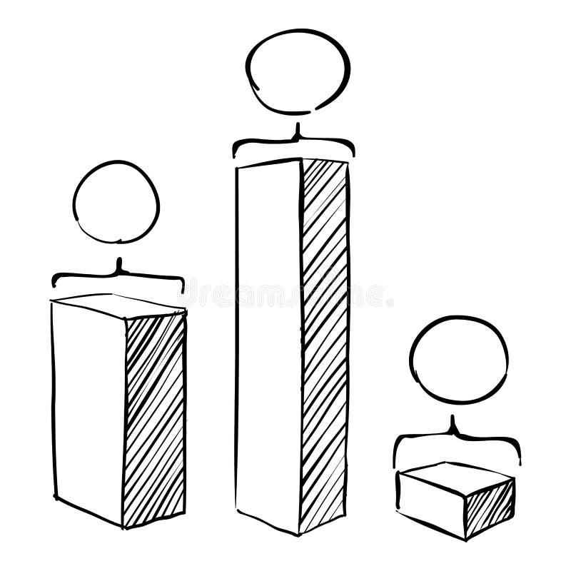 Quadratisches Diagramm infographics, Hand gezeichnete Art lizenzfreie abbildung