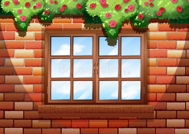 Quadratisches Fenster auf Backsteinmauer vektor abbildung
