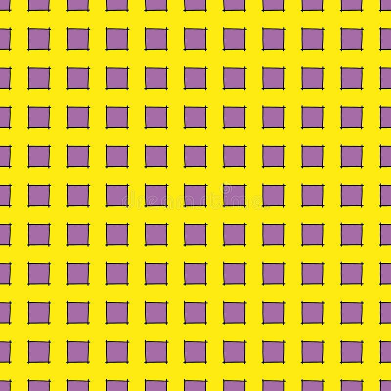 Quadratisches helles buntes violettes und gelbes geometrisches Muster mit der gezeichneten Hand quadriert lizenzfreie abbildung