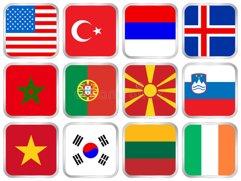 Quadratisches Ikonenset der Staatsflaggen vektor abbildung