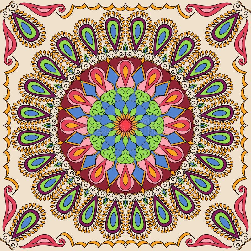 Quadratisches Mandalamuster des Vektors als Beispiel für Malbuch für Erwachsene Seite für entspannen sich und Meditation Mexikani stock abbildung