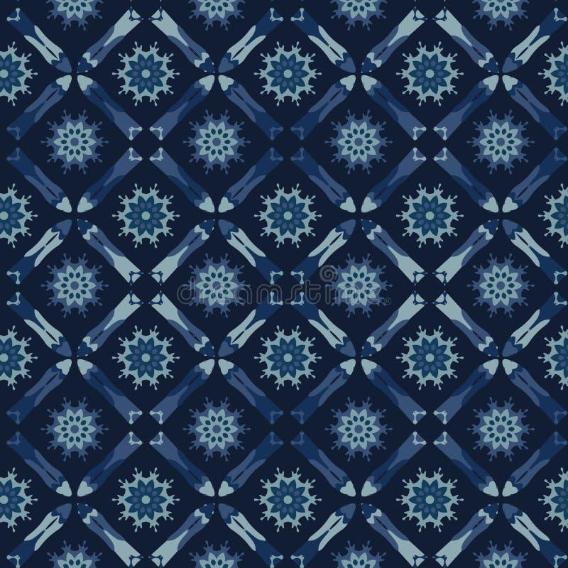 Quadratisches Patchwork-Motiv-japanische Art-nahtloses Vektor-Muster Hand gezeichnet lizenzfreie abbildung