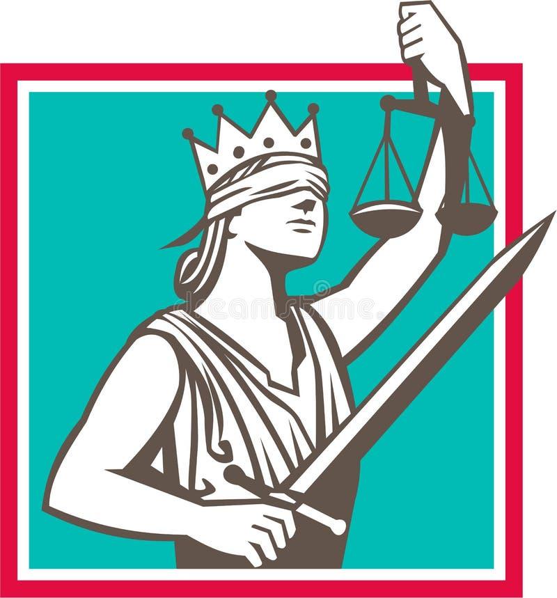 Quadratisches Retro- Damen-Justice Raising Scales Sword vektor abbildung