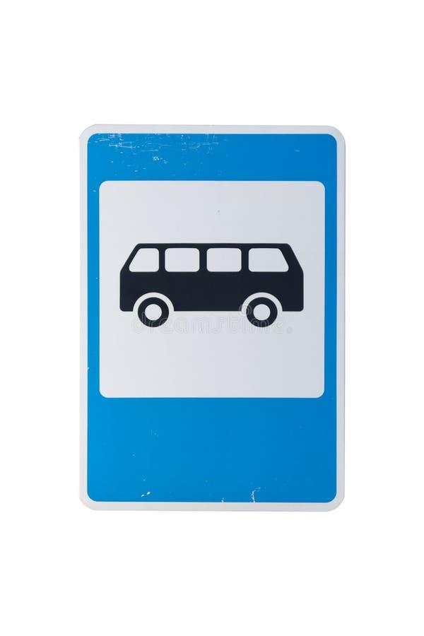 Quadratisches Verkehrsschild ` Bushaltestelle ` lokalisiert auf Weiß stockfoto