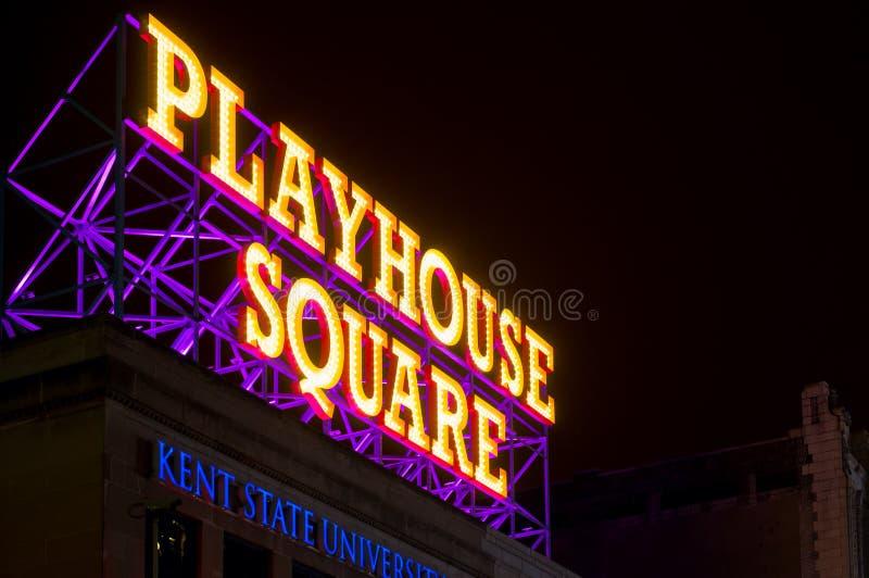 Quadratisches Zeichen des Schauspielhauses lizenzfreies stockfoto