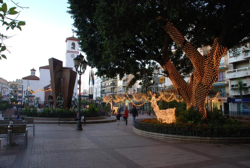 Quadrato al Natale, Fuengirola, Spagna di costituzione fotografia stock libera da diritti