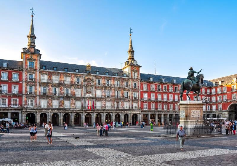 Quadrato al tramonto, Madrid, Spagna di sindaco Main della plaza immagine stock libera da diritti