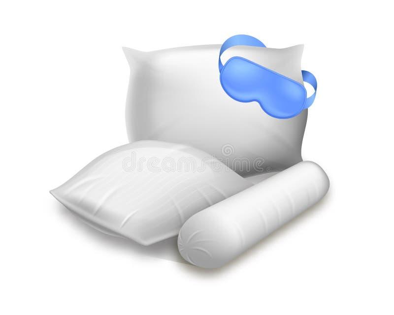 Quadrato in bianco, cilindro e cuscini rettangolari royalty illustrazione gratis
