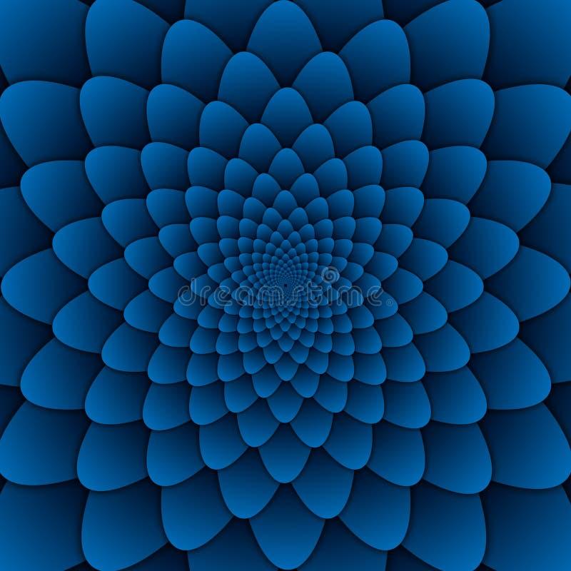 Quadrato blu del fondo del modello decorativo della mandala del fiore dell'estratto di arte di illusione royalty illustrazione gratis