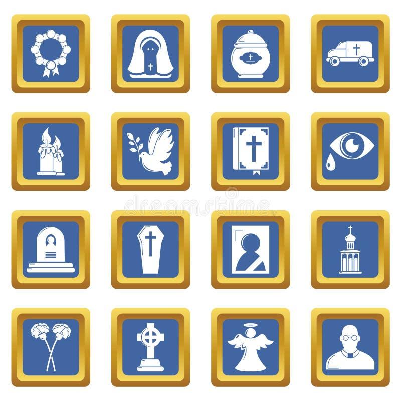 Quadrato blu messo icone rituali funeree di servizio illustrazione vettoriale