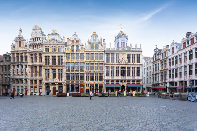 Quadrato a Bruxelles, destinazione turistica famosa, Belgio di Grand Place fotografie stock libere da diritti