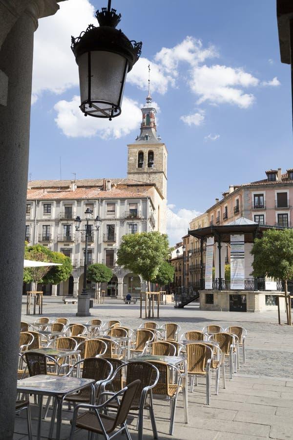 Quadrato centrale in Città Vecchia di Segovia, Spagna fotografia stock libera da diritti