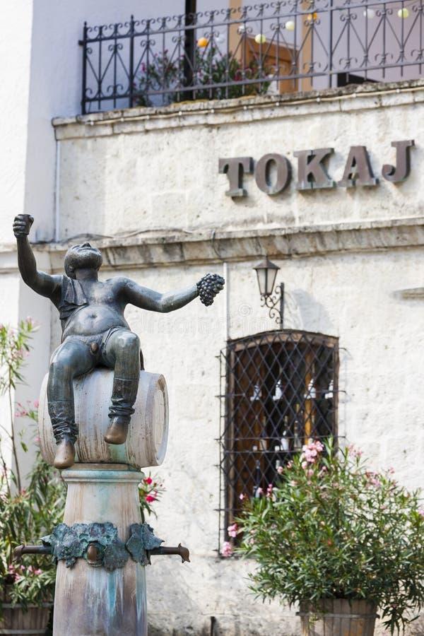 quadrato centrale in Tokaj, Ungheria immagini stock