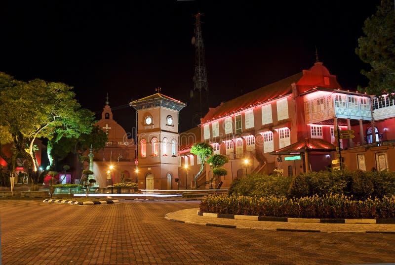 Quadrato del Malacca Malesia con archit coloniale olandese immagini stock