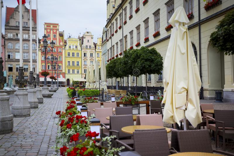 Quadrato del mercato centrale a Wroclaw, Polonia immagine stock libera da diritti