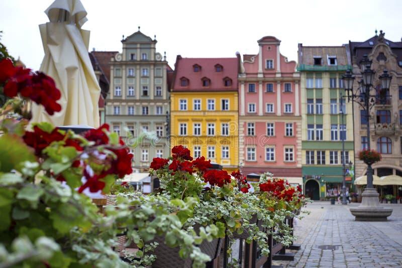 Quadrato del mercato centrale a Wroclaw, Polonia fotografia stock