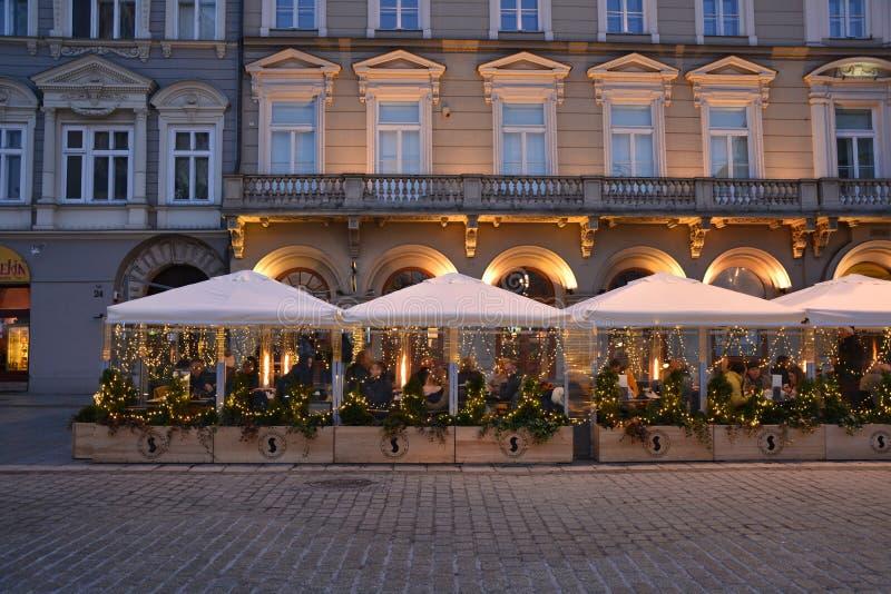 Quadrato del mercato di Natale a Cracovia immagine stock