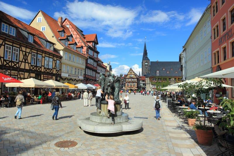 Quadrato del mercato in Quedlinburg immagine stock libera da diritti