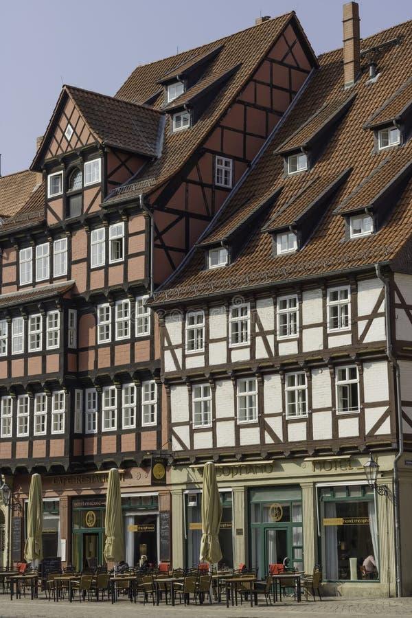 Quadrato del mercato, Quedlinburg, Sassonia-Anhalt, Germania, il 25 marzo 2018 fotografia stock
