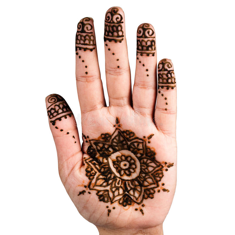 Quadrato del percorso di ritaglio di arte della decorazione del tatuaggio della mano del hennè immagini stock libere da diritti