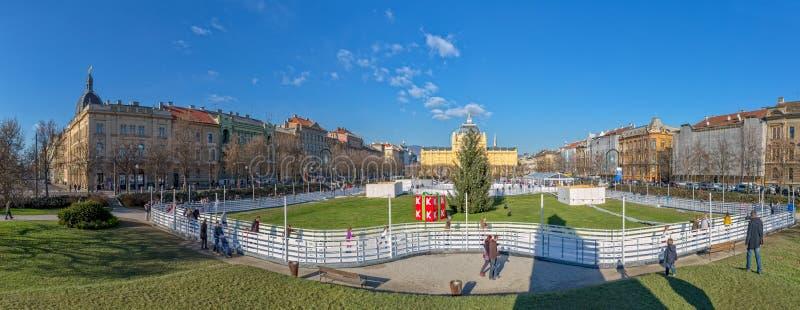 Quadrato del re Tomislav a Zagabria immagine stock libera da diritti