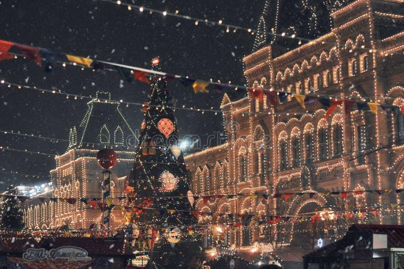 Quadrato dell'albero di Natale in rosso Tempo del nuovo anno a Mosca fotografie stock