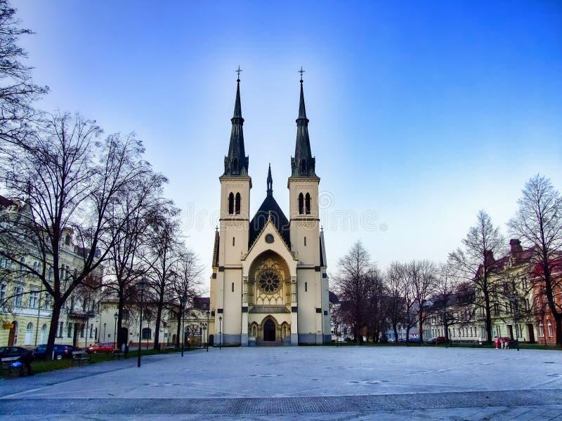 Quadrato dell'immacolata concezione del vergine Mary Church a Ostrava in Cechia immagine stock libera da diritti
