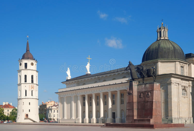 Quadrato della cattedrale di Vilnius fotografie stock libere da diritti