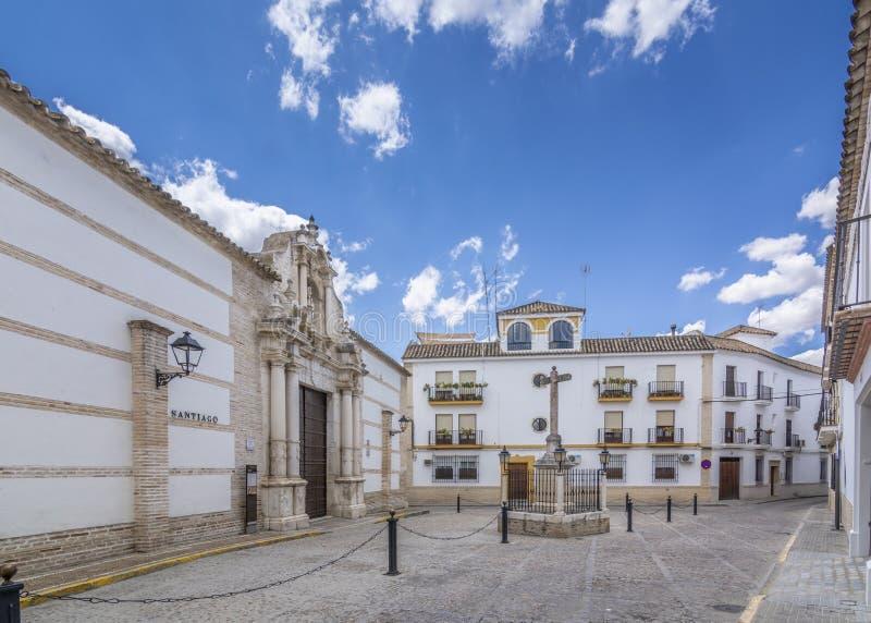 Quadrato della chiesa di Santiago, in Ecija Sevilla fotografia stock libera da diritti